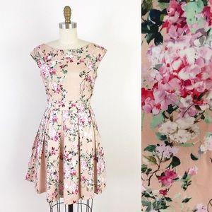 Modcloth Pink Floral Box Pleat A Line Dress K393